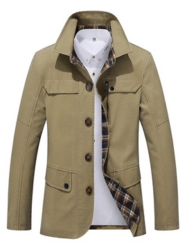 Plain Single-Breasted Men's Casual Jacket