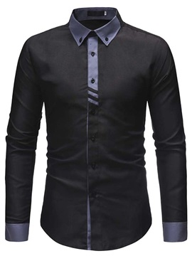Color Block Button Down Men's Dress Shirt