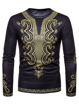 Black Dashiki Print Long Sleeve Men's T-Shirt