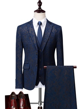3 Pieces Floral Print Men's Business Suit