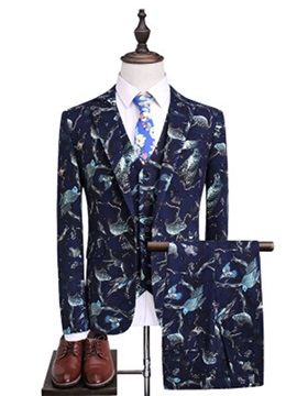 3 Pieces Print Men's Ball Suit