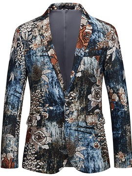 Floral Colorful Print One Button Men's Blazer