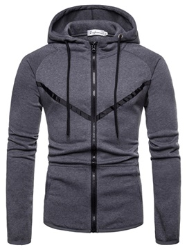 Hooded Lace-Up Zipper Men's Hoodie