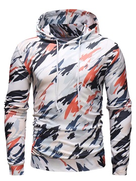 Hooded Color Block Lace-Up Men's Pullover Hoodie