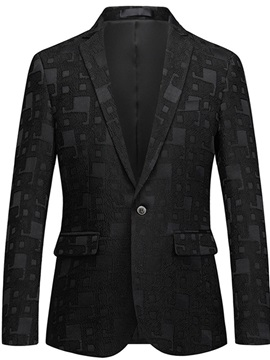 Geometric Pattern Black One Button Men's Blazer