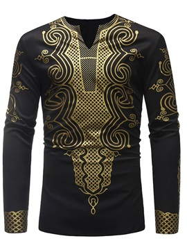 Dashiki Print V-Neck Men's Casual T-Shirt