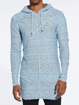 Hooded Plain Lace-Up Mid-Length Men's Pullover Sweater