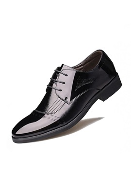 PU Round Toe Lace-Up Men's Dress Shoes