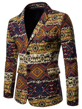 Geometric Ethnic Pattern Men's Slim Blazer