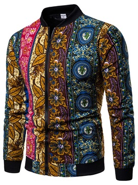 Color Block Floral Print Zipper Men's Jacket