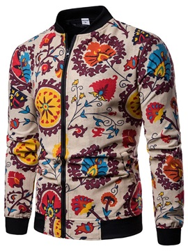 Stand Collar Zipper Floral Print Men's Jacket