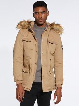 Plain Hooded Warm Men's Winter Coat