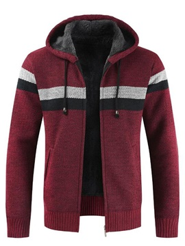 Hooded Color Block Thick Men's Sweater Coat