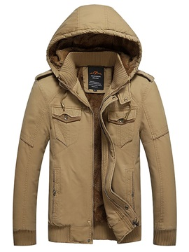 Plain Removable Hooded Zipper Men's Winter Coat