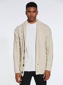 Plain Lapel Button Men's Warm Sweater Coat