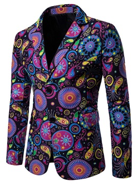 Purple Floral Print Two Buttons Men's Fashion Blazer