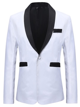 Plain White Color Block One Button Men's Blazer