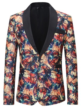 Floral Print One Button Men's Fashion Blazer