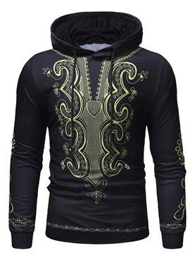 Hooded Black Dashiki Print Men's Pullover Hoodie
