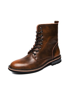 Lace-Up Front Block Heel Men's Martin Boots