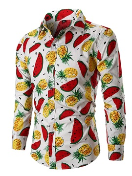 Fruit Print Lapel Men's Casual Shirt
