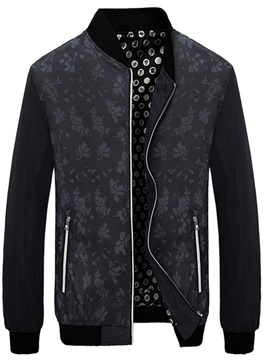 Stand Collar Floral Print Zipper Men's Casual Jacket