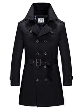 Plain Double Breasted Men's Casual Trench Coat with Belt