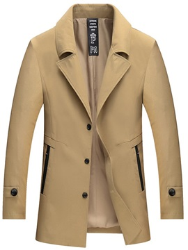 Plain Lapel Single-Breasted Men's Mid-Length Jacket