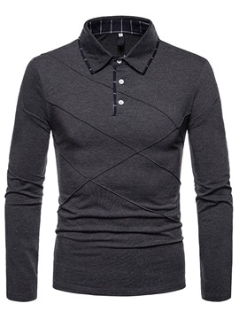 Plain Long Sleeve Men's Casual Polo