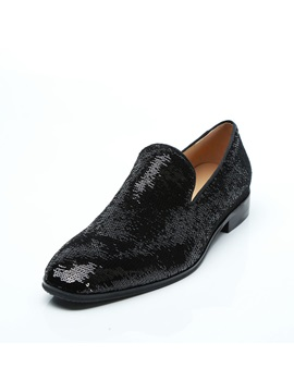 Sequin Round Toe Slip-On Men's Dress Shoes