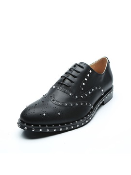 Rivet Round Toe Lace-Up Men's Dress Shoes