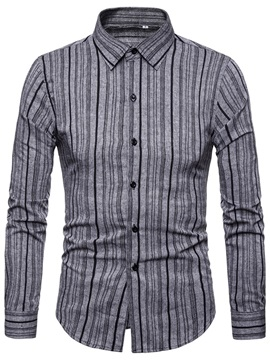 Lapel Stripe Button Up Men's Casual Shirt
