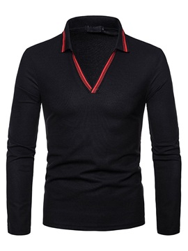 Plain Long Sleeve Casual Men's Polo