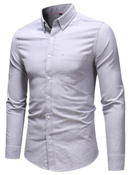 Lapel Plain Button Down Men's Shirt