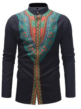 Black Stand Collar Dashiki Print Men's Casual Shirt