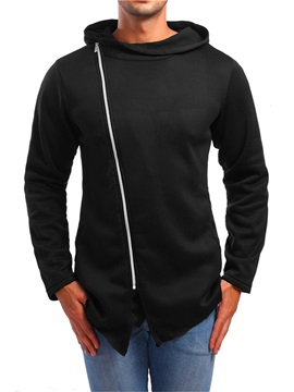 Inclined Zipper Hooded Plain Men's Hoodie