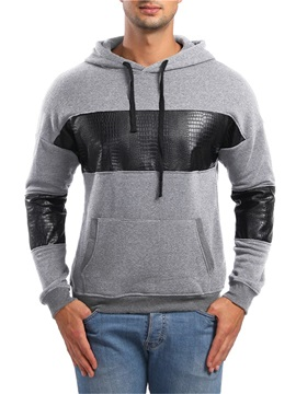 Patchwork Pullover Hooded Lace-Up Men's Hoodie