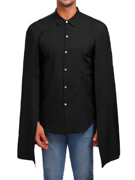 Plain Cloak Single-Breasted Men's Shirt