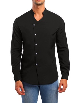 Plain Special Neckline Men's Casual Shirt