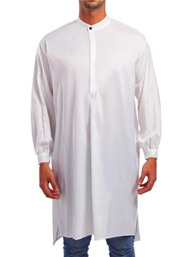 Plain Loose Men's Long Casual Shirt