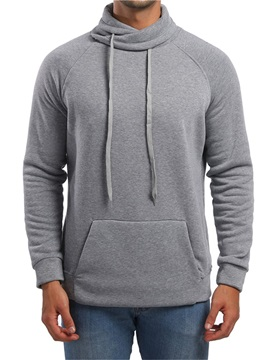 Heap Collar Plain Lace-Up Men's Pullover Hoodie