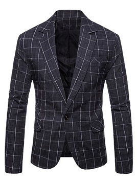 Color Block Plaid Men's One Button Blazer