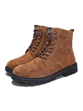 Plain Round Toe Lace-Up Front Men's Martin Boots