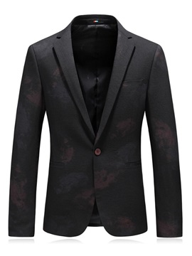 Plain One Button Floral Print Men's Casual Blazer
