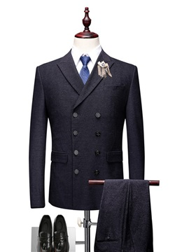 Double-Breasted Plain 3 Pieces Men's Dress Suit