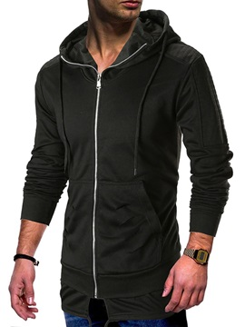 Hooded Plain Zipper Pocket Men's Cardigan Hoodie