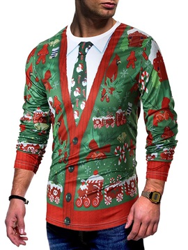 Christmas Print Patchwork Men's Long Sleeve T-Shirt