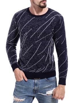 Round Neck Long Sleeve Print Men's Sweater
