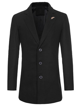 Notched Lapel Plain Single-Breasted Men's Trench Coat