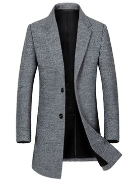 Plain Mid-Length Casual Men's Woolen Coat